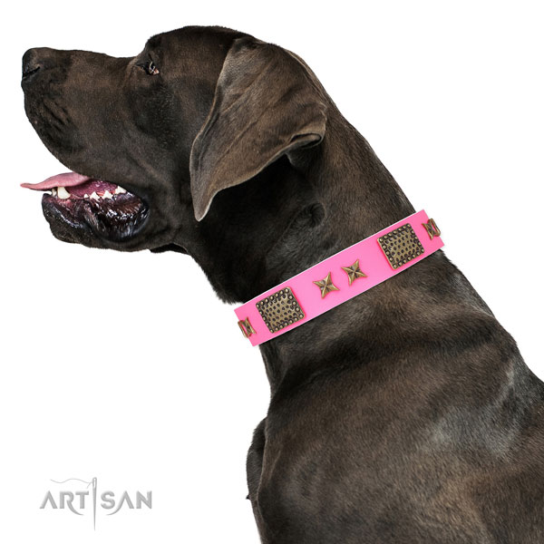 Great Dane exceptional natural genuine leather dog collar for easy wearing