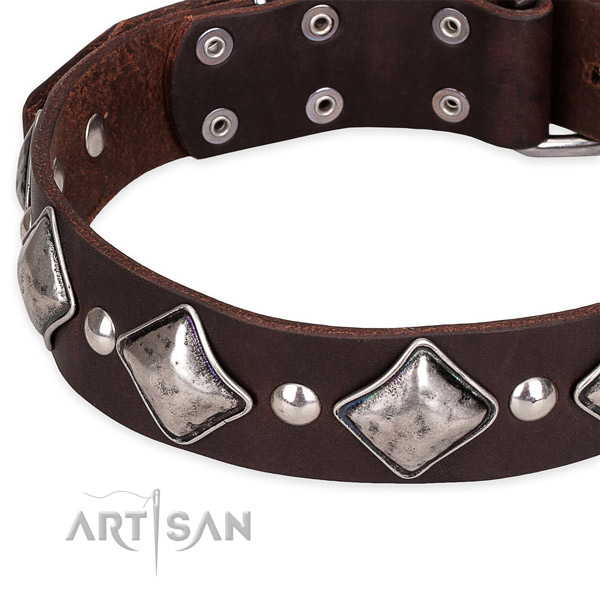 Easy to use leather dog collar with resistant to tear and wear non-rusting hardware