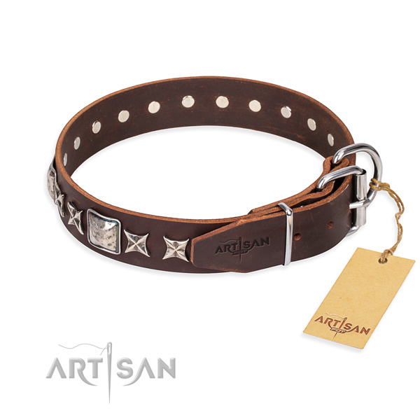 Durable leather collar for your darling dog