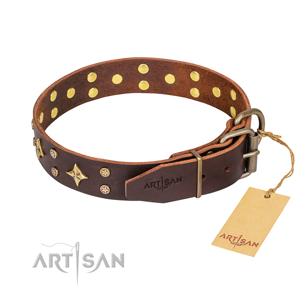 Wear-proof leather collar for your noble dog