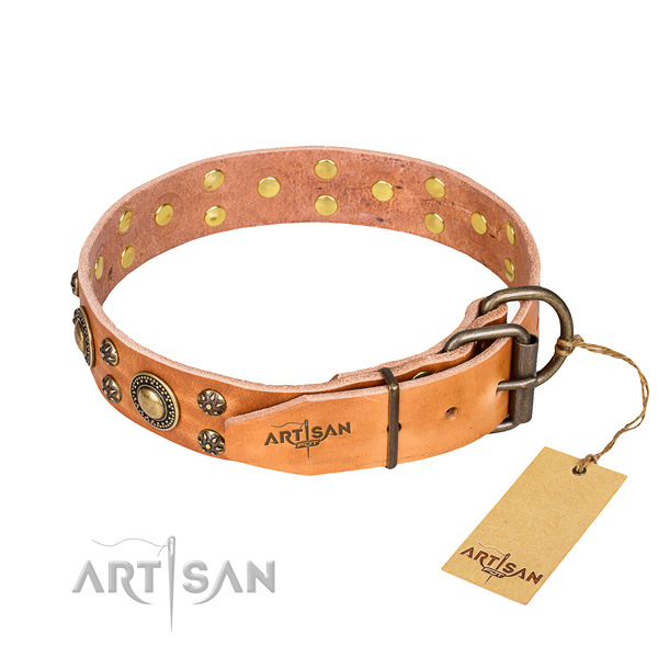Strong leather dog collar with corrosion-resistant elements