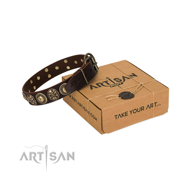 Decorated full grain natural leather dog collar for comfortable wearing