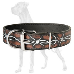 Barbed Wire Leather Dog Collar