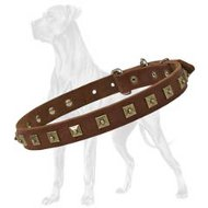 Adjustable Decorated with Studs Leather Collar for Great Dane