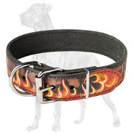 Premium Leather Collar with Flames for Great Dane