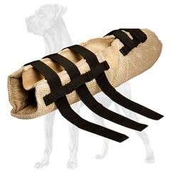 Jute Great Dane bite sleeve with velcro straps for  adjustability