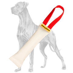 Fire hose Great Dane bite tug with 1 handle