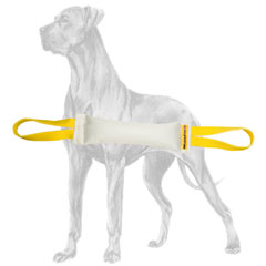Fire hose bite tug with two handles for Great Dane