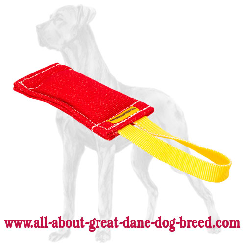 French Linen bite tug with 1 handle for Great Dane