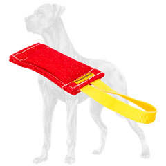 French linen Great Dane bite tug with 1 handle