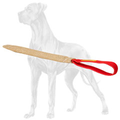 Great Dane bite tug with one comfortable handle