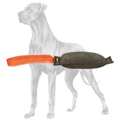 Leather Great Dane bite tug with strong handle