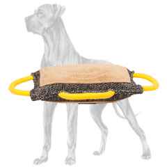 Great Dane bite pad constructed of French Linen and  leather