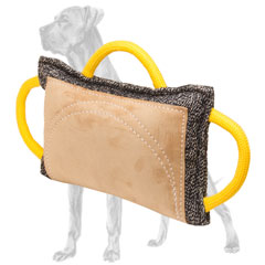 Tear-resistant Great Dane bite pad with 3 handles