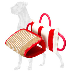 Bite pillow with removable jute cover for Great Dane