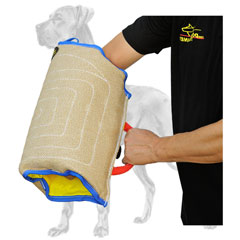 Jute Great Dane sleeve with outside and inside handles