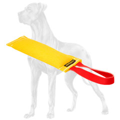 Great Dane bite tug with convenient handle