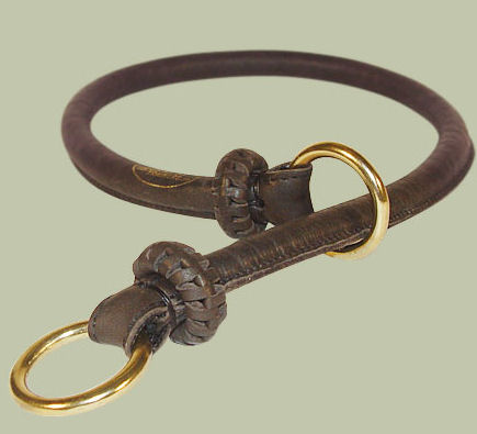 Round Leather Slip Collar-Rolled Choke Collar for Great  Dane