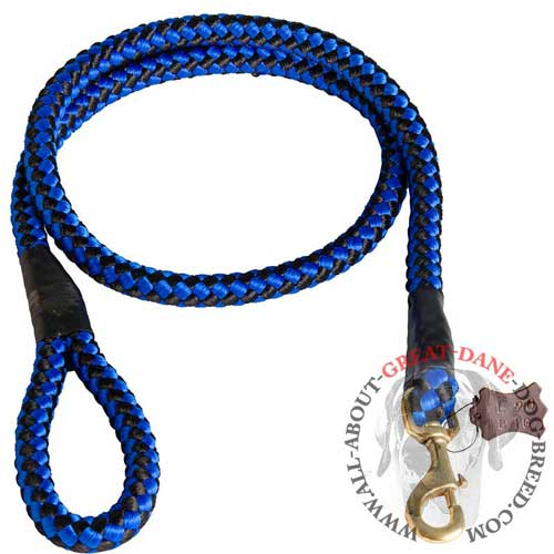 Blue Nylon Cord Great Dane Leash with Handle and Brass Snap Hook