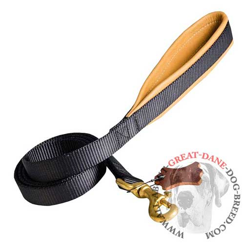 Comfortable for Handling Nylon Great Dane Leash with Leather Padded Handle