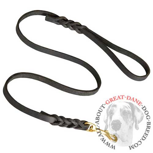 Exclusively braided Great Dane leather leash for daily use