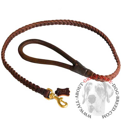 Long-lasting leather Great Dane leash with brass plated  snap hook