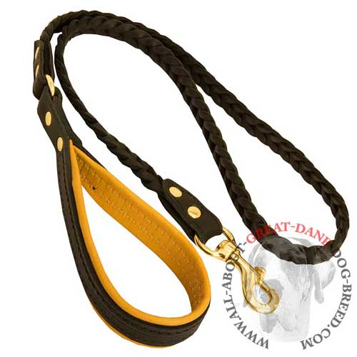 Walking braided leather Great Dane leash