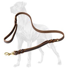 Braided leather Great Dane leash