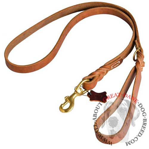 Non-stretching leather leash for Great Dane