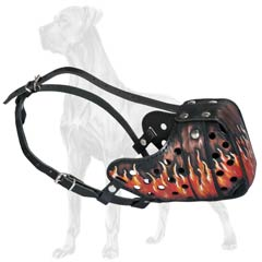 Excellent Quality Leather Dog Muzzle for Great Dane Attack Training