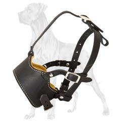 Great-Dane-Dog-Leather-Muzzle-Comfortable-No-Barking
