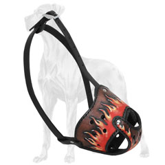 Great Dane muzzle with handpainted flames