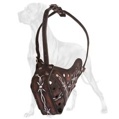 Excellent Quality Handpainted Leather Great Dane Muzzle