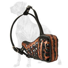 Adjustable Painted Leather Dog Muzzle
